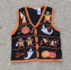 Vintage Basic Editions Beaded Embroidered Applique Whimsical Halloween Vest L